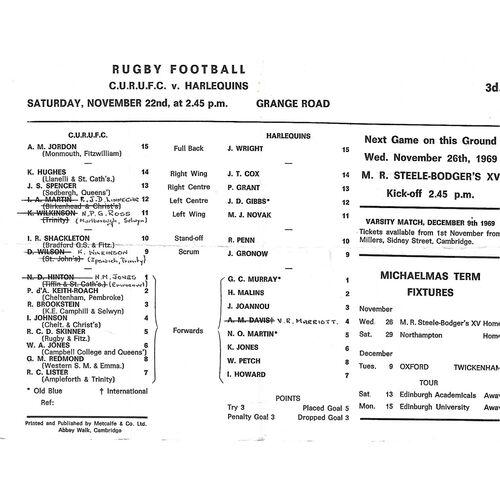 1969/70 Cambridge University v Harlequins (22/11/1969) Rugby Union Programme
