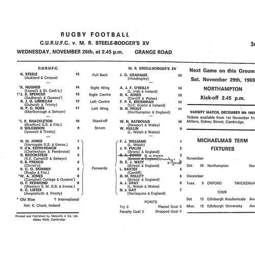 1969/70 Cambridge University v M.R Steele-Bodger's XV (26/11/1969) Rugby Union Programme