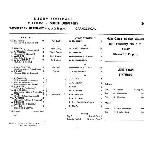1969/70 Cambridge University v Dublin University (04/02/1970) Rugby Union Programme