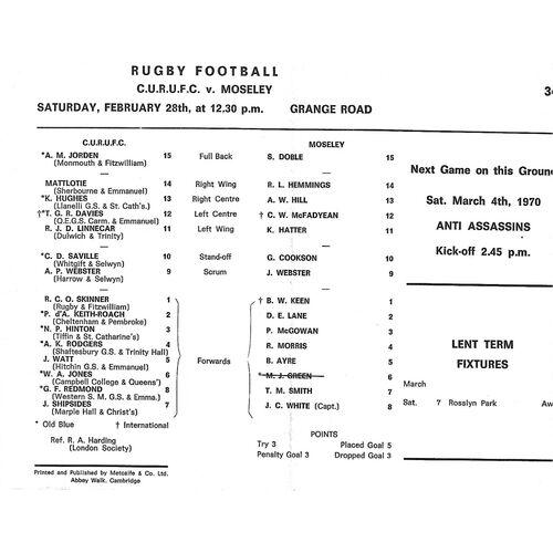1969/70 Cambridge University v Moseley (28/02/1970) Rugby Union Programme