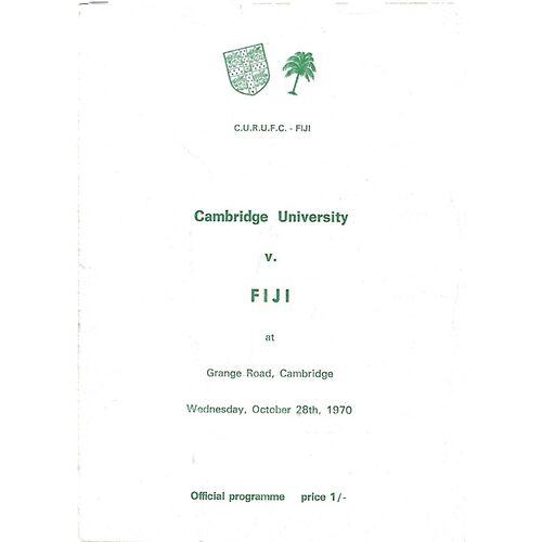 1970/71 Cambridge University v Fiji Tour Match (28/10/1970) Rugby Union Programme