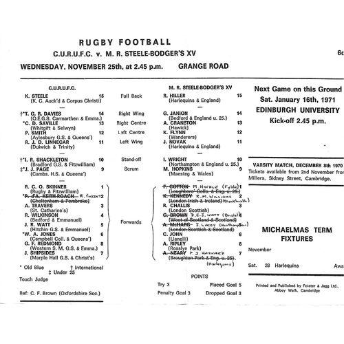 1970/71 Cambridge University v M.R Steele-Bodger's XV (25/11/1970) Rugby Union Programme
