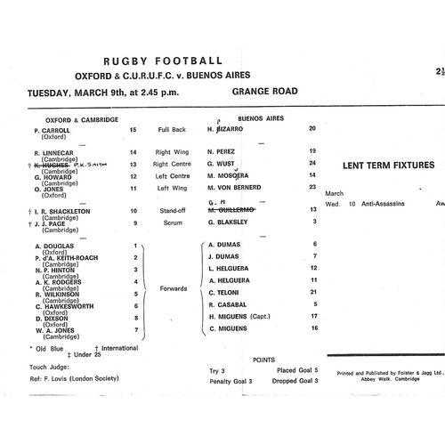 1970/71 Oxford & Cambridge Universites v Univercidad De Buenos Aires Tour Match (09/03/1971) Rugby Union Programme