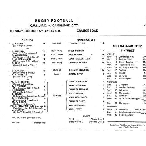 1971/72 Cambridge University v Cambridge City (05/10/1971) Rugby Union Programme