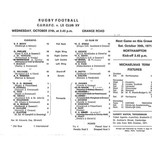 1971/72 Cambridge University v Cambridge University LX Club (27/10/1971) Rugby Union Programme