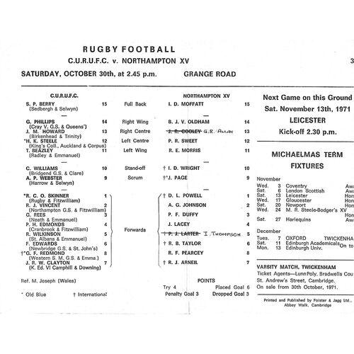 1971/72 Cambridge University v Northampton XV (30/10/1971) Rugby Union Programme
