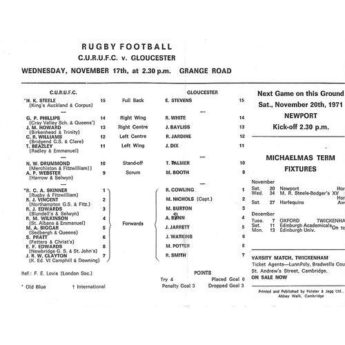 1971/72 Cambridge University v Gloucester (17/11/1971) Rugby Union Programme