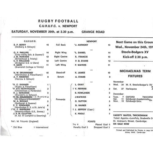 1971/72 Cambridge University v Newport (20/11/1971) Rugby Union Programme