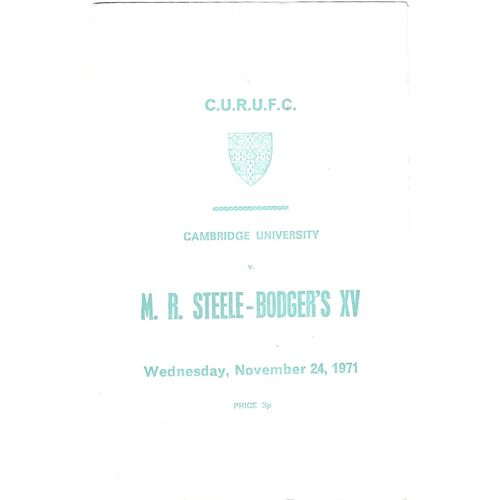 M.R Steele-Bodger's XV Away Rugby Union Programmes