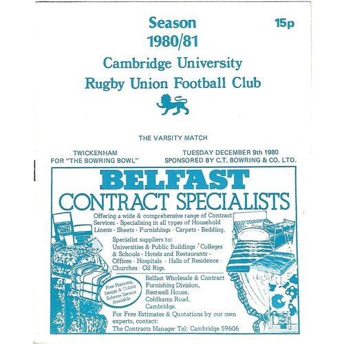 1980/81 Cambridge University v Steele-Bodger's XV (26/11/1980) Rugby Union Programme