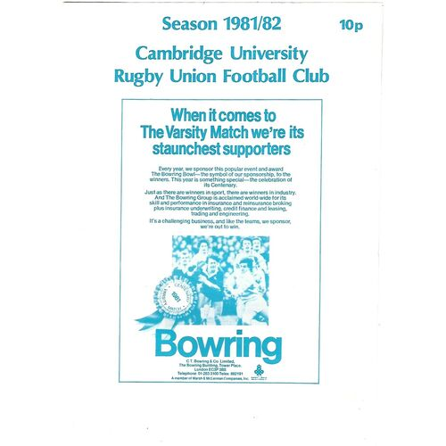 1981/82 Cambridge University v Birkenhead Park (23/01/1982) Rugby Union Programme