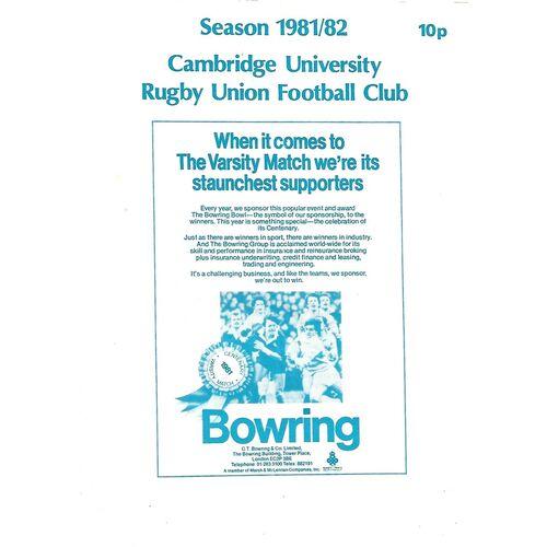 1981/82 Cambridge University v Harlequins (28/11/1981) Rugby Union Programme