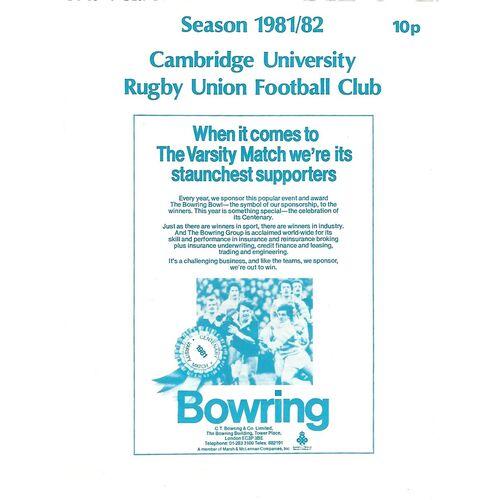 1981/82 Cambridge University v Steele-Bodger's XV (25/11/1981) Rugby Union Programme