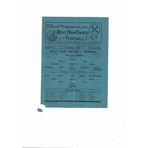 1945/46 West Ham United v Arsenal FA Cup Football Programme