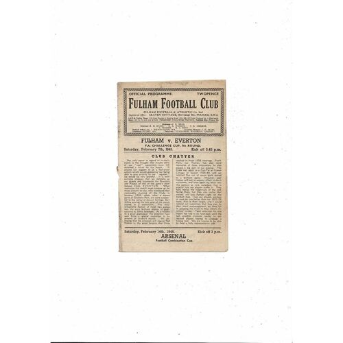 1947/48 Fulham v Everton FA Cup Football Programme
