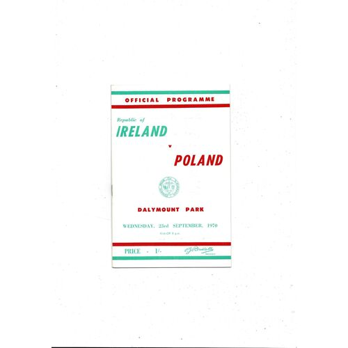1970 Republic of Ireland v Poland Football Programme