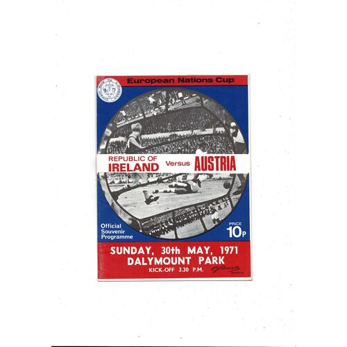 1971 Republic of Ireland v Austria Football Programme