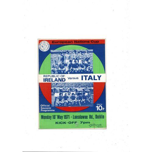 1971 Republic of Ireland v Italy Football Programme