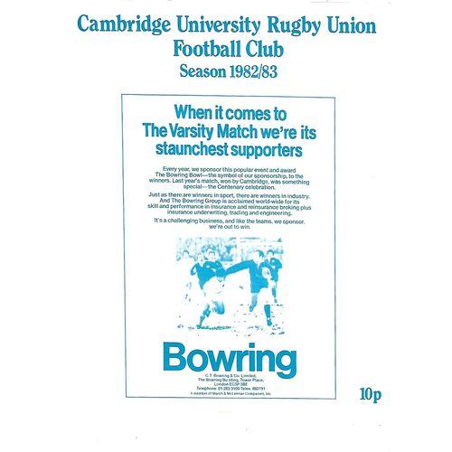 1982/83 Cambridge University v Blackheath (20/11/1982) Rugby Union Programme