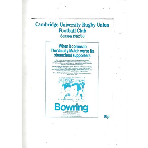 1982/83 Cambridge University v M.R Steele-Bodger's XV(24/11/1982) Rugby Union Programme