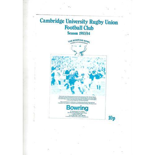 1983/84 Cambridge University v M.R Steele-Bodger's XV (23/11/1983) Rugby Union Programme