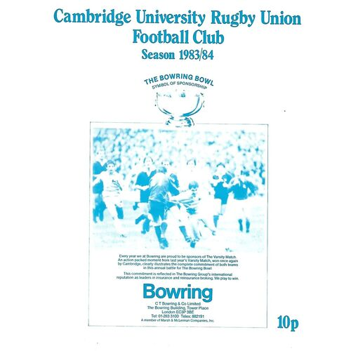1983/84 Cambridge University v Harlequins (26/11/1983) Rugby Union Programme