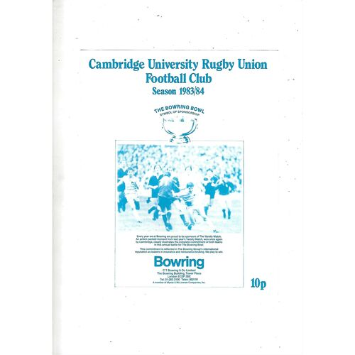 1983/84 Cambridge University v Leicester (12/11/1983) Rugby Union Programme