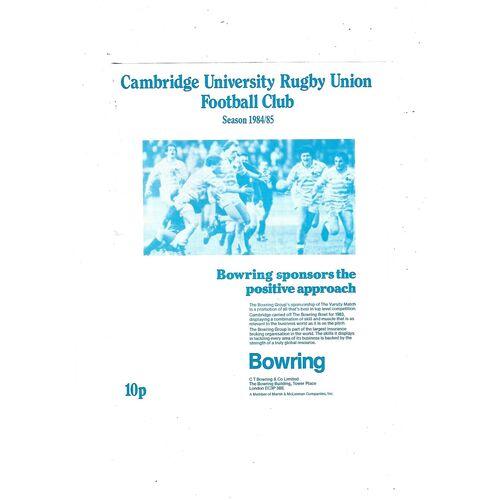 1984/85 Cambridge University v New Zealand Universities (26/01/1985) Rugby Union Programme