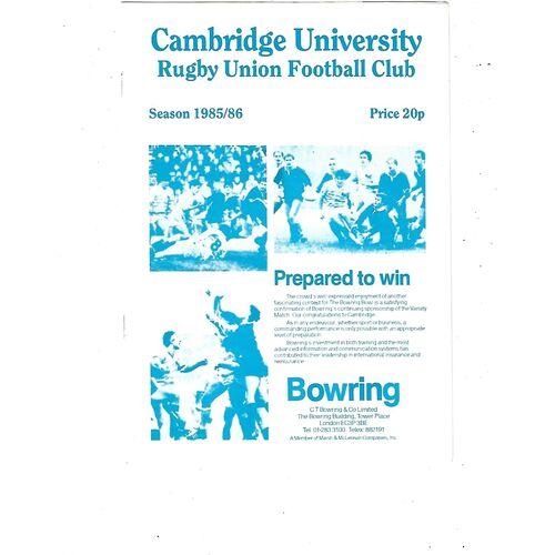 1985/86 Cambridge University v Harlequins (23/11/1985) Rugby Union Programme