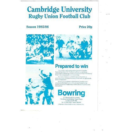 1985/86 Cambridge University v Leicester (09/11/1985) Rugby Union Programme