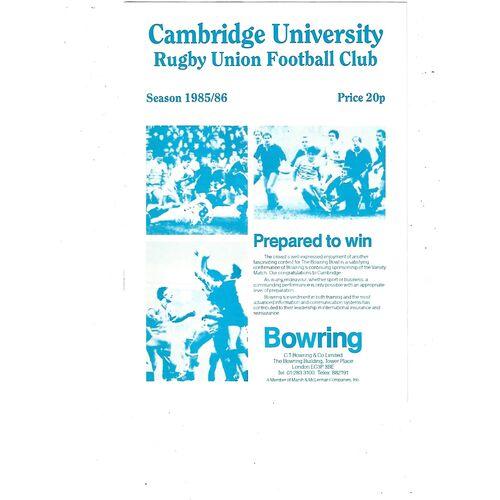 1985/86 Cambridge University v Northampton (30/11/1985) Rugby Union Programme