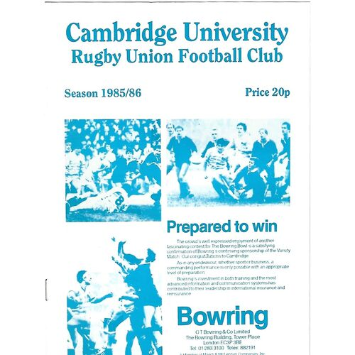 1985/86 Cambridge University v M.R Steele-Bodger's XV (27/11/1985) Rugby Union Programme