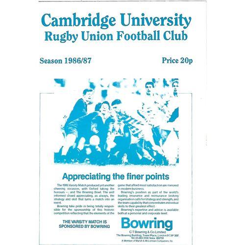 1986/87 Cambridge University v Anti-Assassins (04/03/1987) Rugby Union Programme