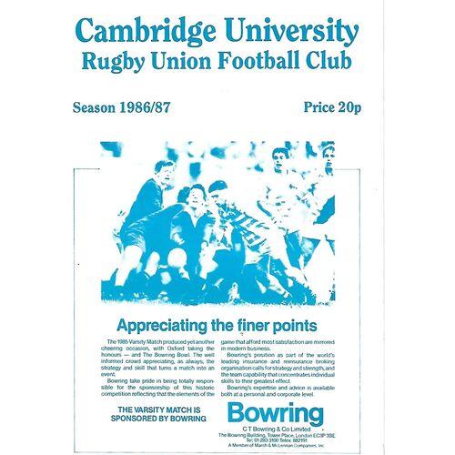 1986/87 Cambridge University v Headingley (18/10/1986) Rugby Union Programme