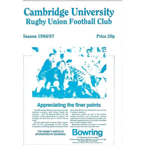 1986/87 Cambridge University v Leicester (12/11/1986) Rugby Union Programme