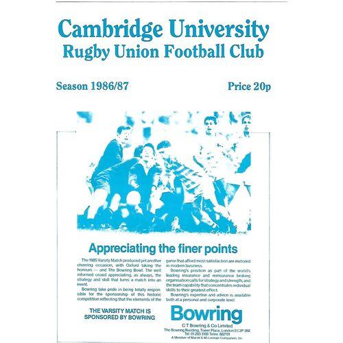1986/87 Cambridge University v Luddites (11/02/1987) Rugby Union Programme