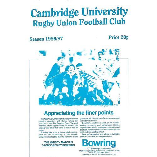 1986/87 Cambridge University v Nottingham (11/10/1986) Rugby Union Programme