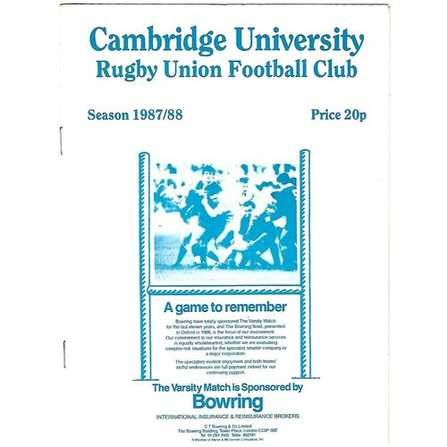 1987/88 Cambridge University (Past & Present) v Penguins (21/10/1987) Rugby Union Programme