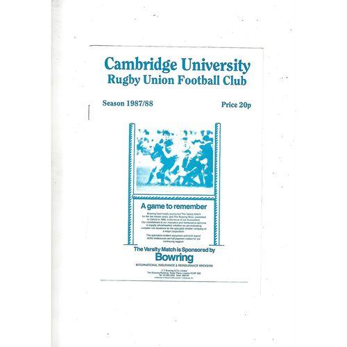 1987/88 Cambridge University v M.R Steele-Bodger's XV 40th Aniversary Match (25/11/1987) Rugby Union Programme