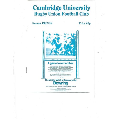 1987/88 Cambridge University v Vale of Lune (20/02/1988) Rugby Union Programme