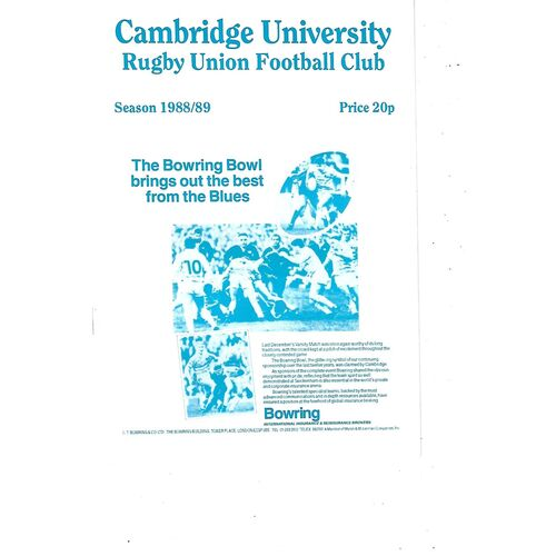 1988/89 Cambridge University v Army (08/02/1989) Rugby Union Programme