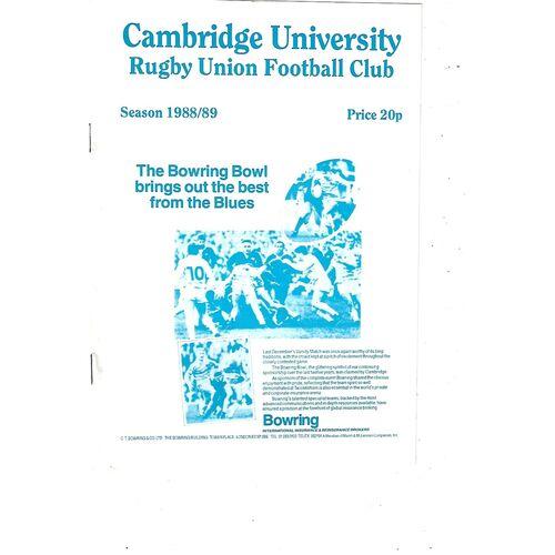 1988/89 Cambridge University v Bedford (12/10/1988) Rugby Union Programme