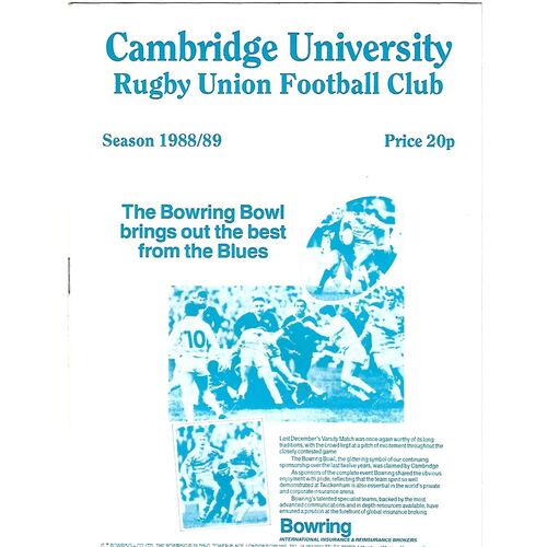1988/89 Cambridge University v Bridgend (08/10/1988) Rugby Union Programme