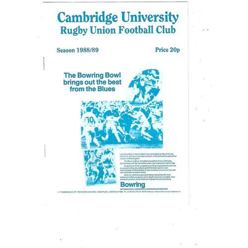 1988/89 Cambridge University v Liverpool St. Helens (01/10/1988) Rugby Union Programme