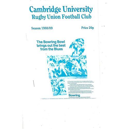 1988/89 Cambridge University (Past & Present) v Penguins (19/10/1988) Rugby Union Programme