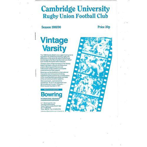 1989/90 Cambridge University v Neath (25/11/1989) Rugby Union Programme