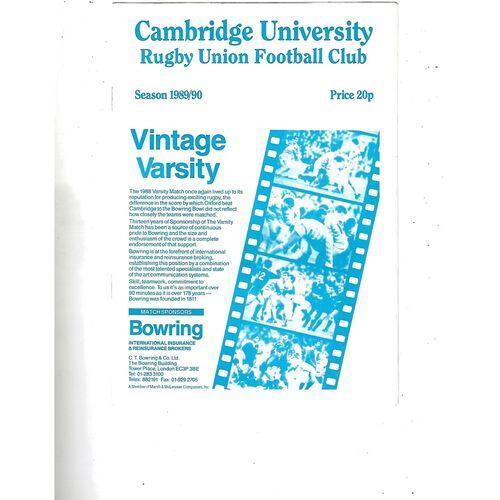 1989/90 Cambridge University v Northampton (30/09/1989) Rugby Union Programme