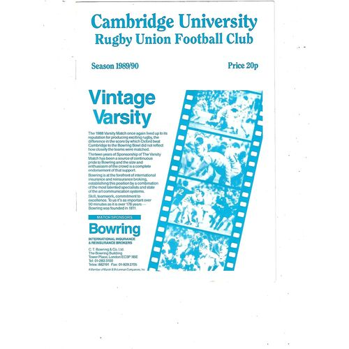 1989/90 Cambridge University v Nuneaton (02/02/1990) Rugby Union Programme