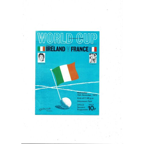 1972 Republic of Ireland v France Football Programme