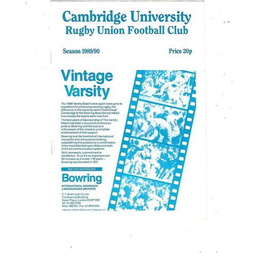 1989/90 Cambridge University (Past & Present) v Penguins (21/02/1990) Rugby Union Programme